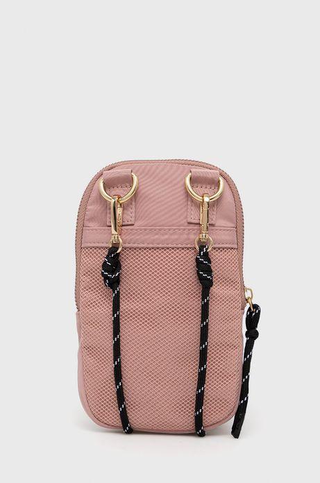 Torebka damska na telefon z funkcją portfela z dopinanym paskiem różowa