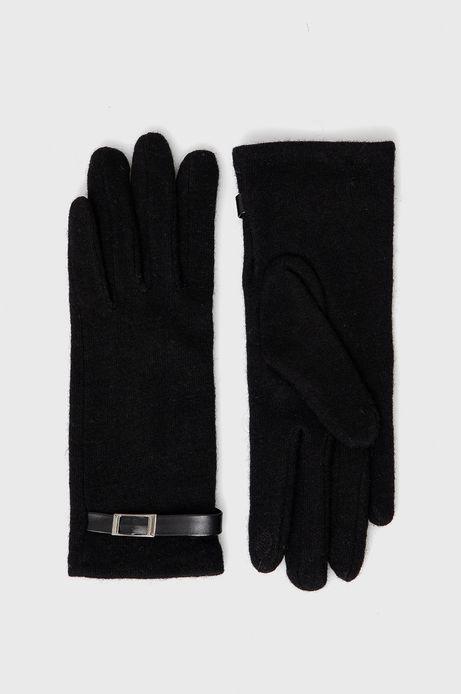 Rękawiczki z wełnianej dzianiny damskie czarne