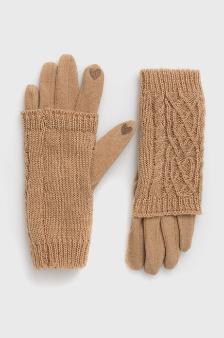 Rękawiczki z gładkiej dzianiny damskie beżowe