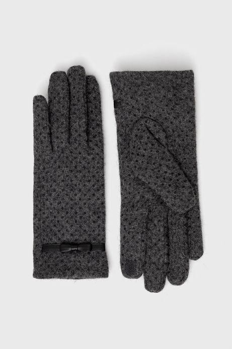 Rękawiczki z wełnianej dzianiny damskie szare