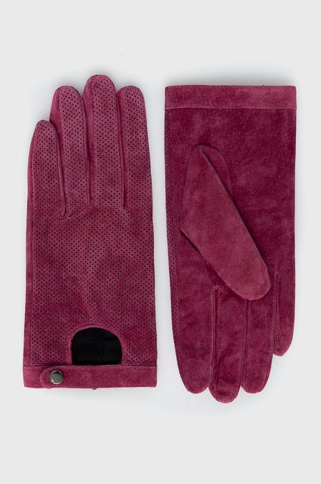 Rękawiczki ze skóry zamszowej damskie różowe