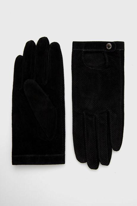 Rękawiczki ze skóry zamszowej damskie czarne