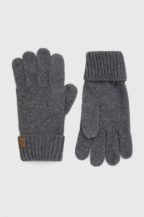 Rękawiczki z domieszką wełny męskie szare