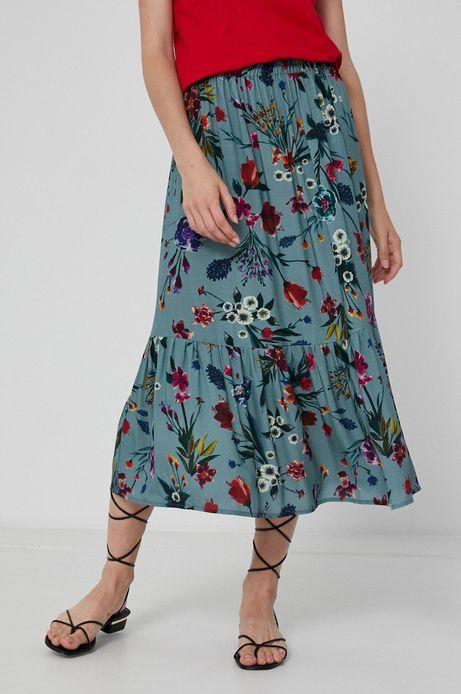 Spódnica damska z falbanką w kwiatowy wzór turkusowa