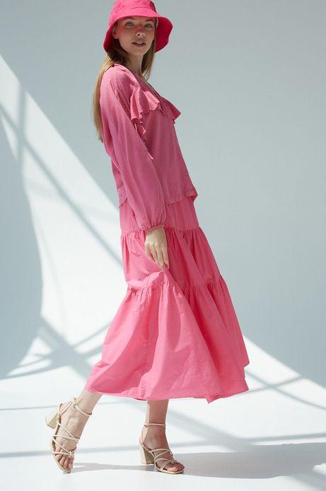 Spódnica damska z bawełną z recyklingu różowa