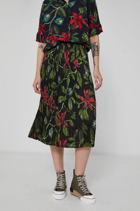 Plisowana spódnica damska w kwiatowy wzór czarna
