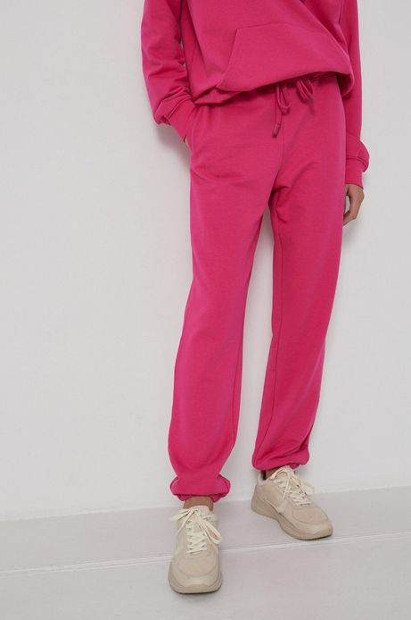 Spodnie z gładkiej dzianiny damskie różowe