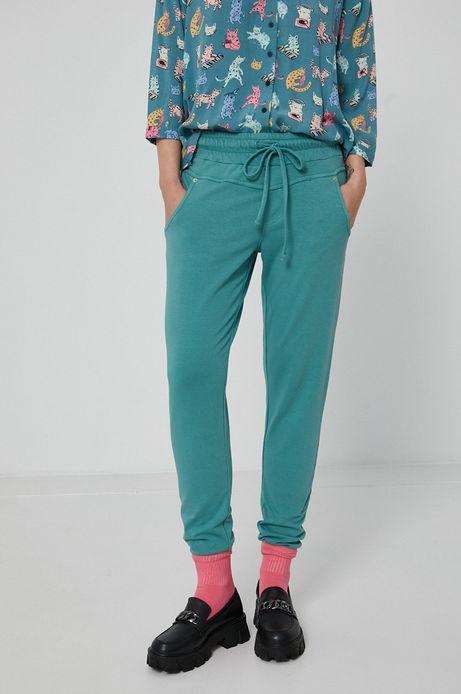 Spodnie damskie dresowe turkusowe