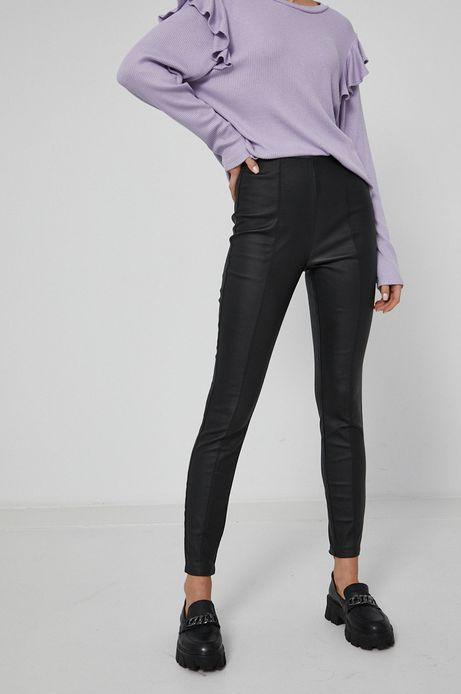 Spodnie z imitacją skóry damskie czarne