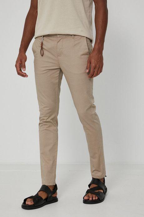 Spodnie męskie chino w drobny wzór beżowe