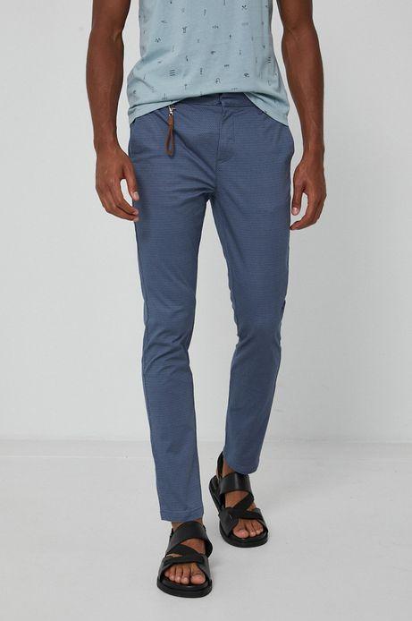 Spodnie męskie chino w drobny wzór niebieskie