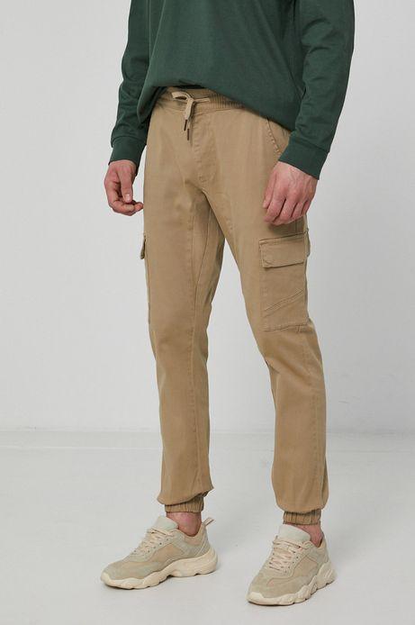 Spodnie męskie z kieszeniami cargo beżowe