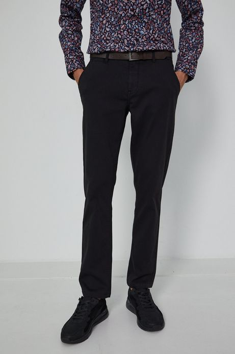 Spodnie męskie chino z paskiem czarne