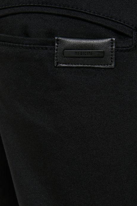 Spodnie z gładkiej tkaniny męskie czarne