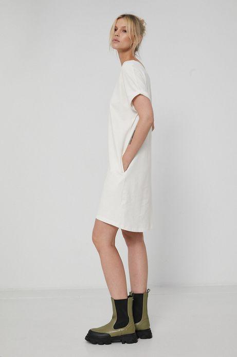 Sukienka bawełniana z krótkim rękawem biała