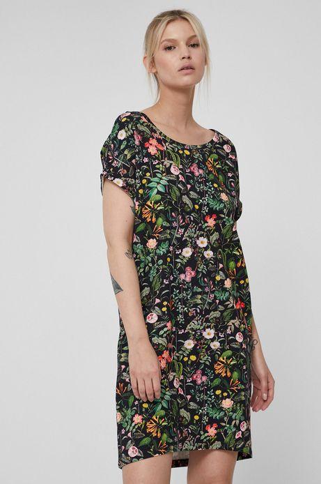 Sukienka bawełniana z krótkim rękawem w kwiaty