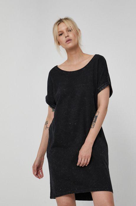 Sukienka bawełniana z krótkim rękawem czarna