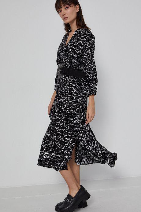 Sukienka damska z wiskozy w grochy czarna