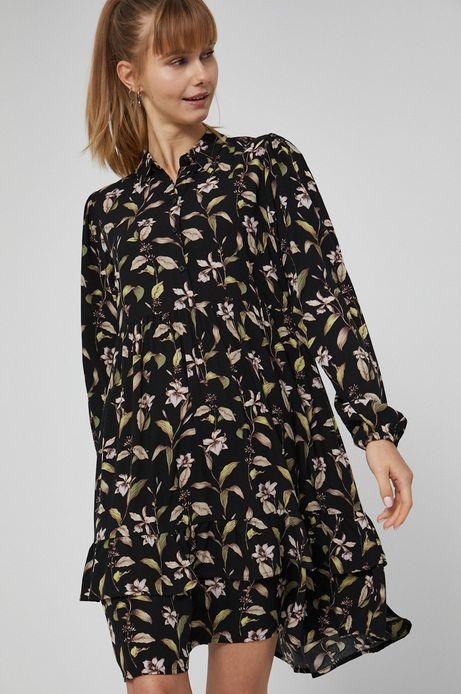 Sukienka z wzorzystej tkaniny damska czarna