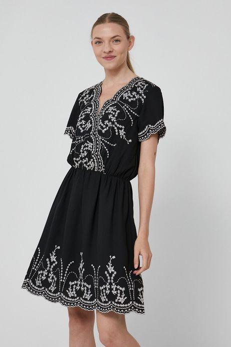 Sukienka damska z aplikacją czarna