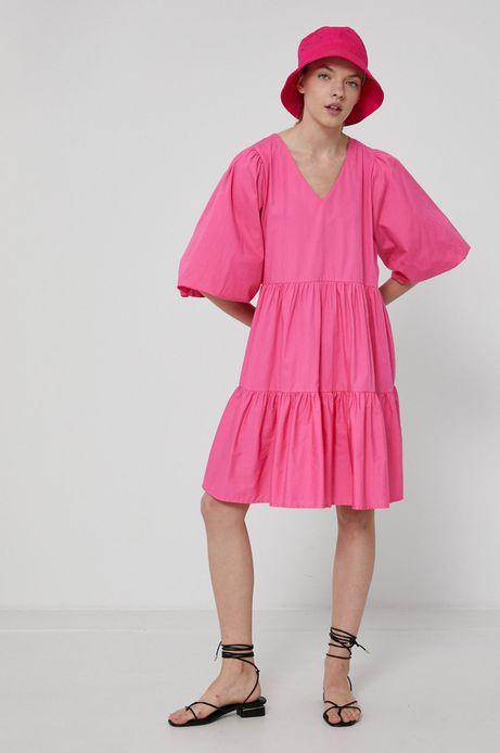 Sukienka damska z bawełny z recyklingu różowa
