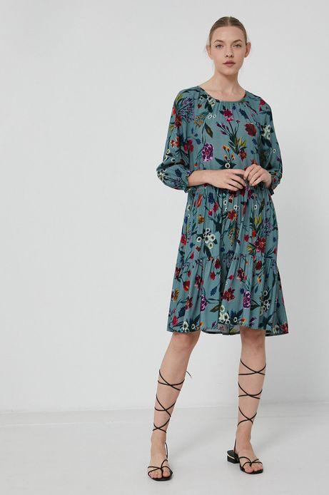 Sukienka damska z falbanką w kwiatowy wzór turkusowa