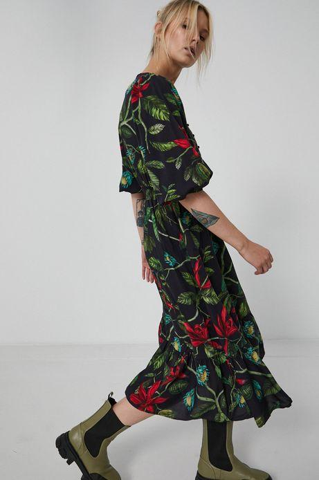 Długa sukienka damska z wiskozy czarna