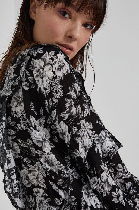 Sukienka damska z falbanką w kwiaty czarna