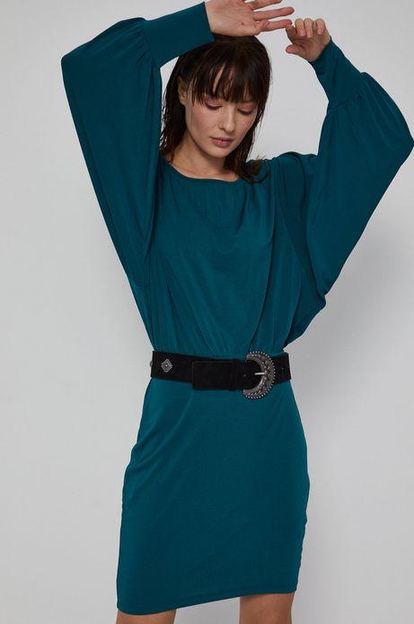 Sukienka damska z marszczeniami turkusowa