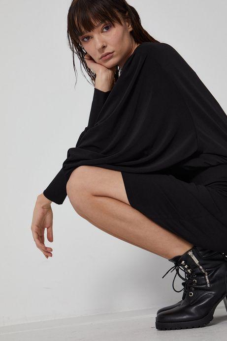 Sukienka damska z marszczeniami czarna