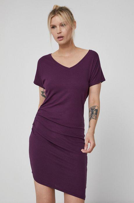 Asymetryczna sukienka damska z marszczeniami fioletowa