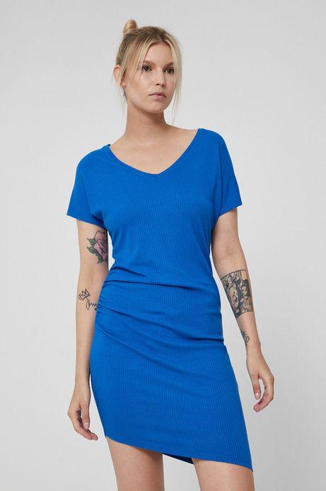 Asymetryczna sukienka damska z marszczeniami niebieska