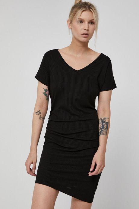 Asymetryczna sukienka damska z marszczeniami czarna