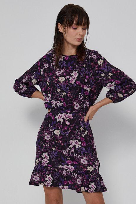 Sukienka damska z falbanką w kwiatowy wzór