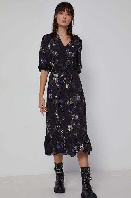 Długa sukienka damska z falbanką czarna