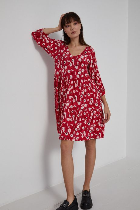 Sukienka damska z dekoltem V w kwiatowy wzór