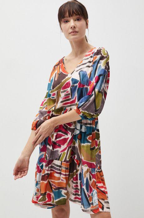 Wzorzysta sukienka damska z falbanką