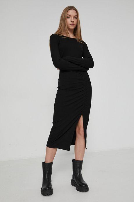 Sukienka z gładkiej dzianiny damska czarna