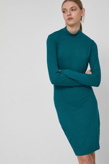 Sukienka z prążkowanej tkaniny damska turkusowa
