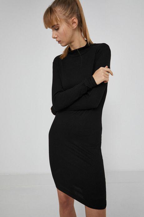 Sukienka z prążkowanej tkaniny damska czarna
