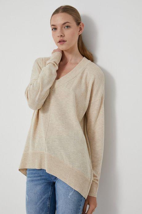 Sweter damski z poliestrem z recyklingu beżowy