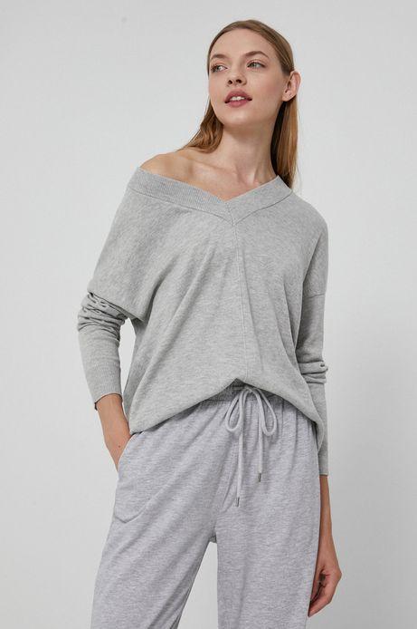 Sweter damski z poliestrem z recyklingu szary
