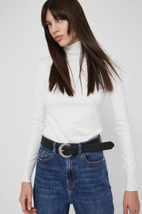 Sweter damski z gładkiej dzianiny kremowy