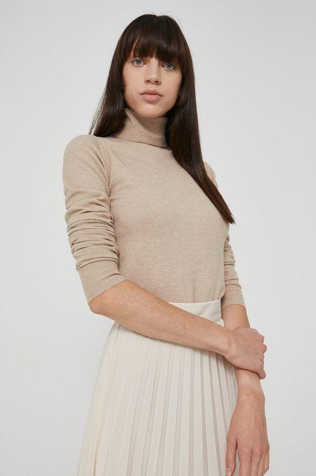 Sweter damski z gładkiej dzianiny beżowy