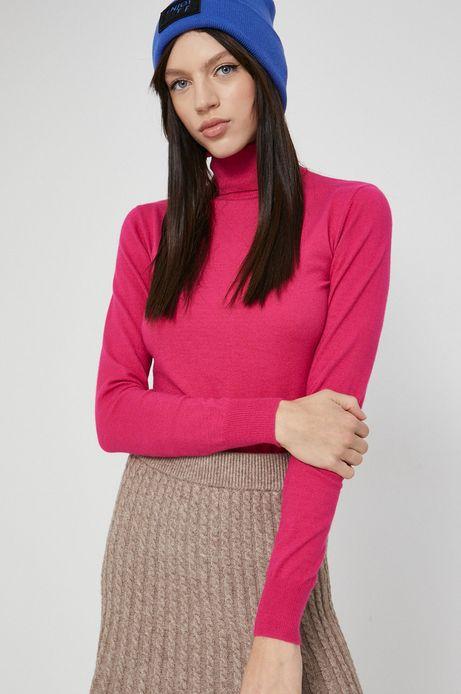 Sweter damski z gładkiej dzianiny różowy