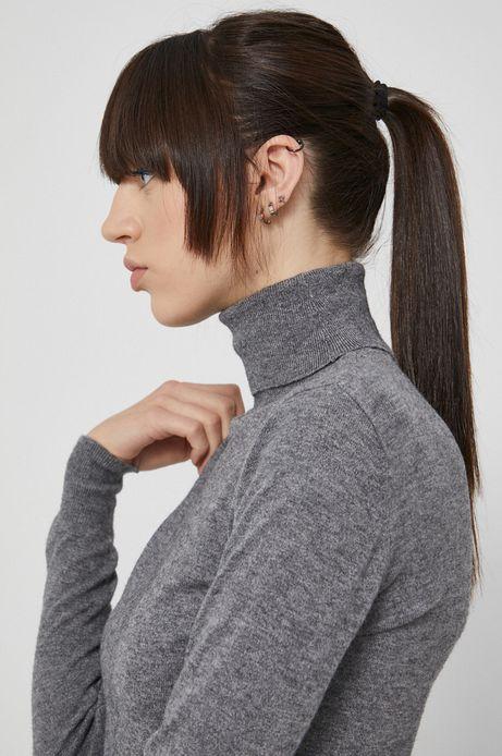 Sweter damski z gładkiej dzianiny szary