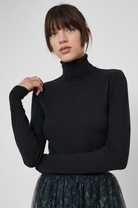 Sweter damski z gładkiej dzianiny czarny