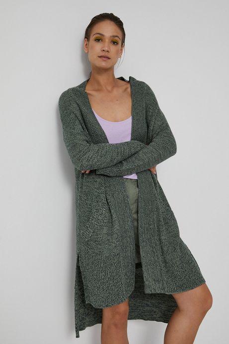 Kardigan damski z kieszeniami zielony