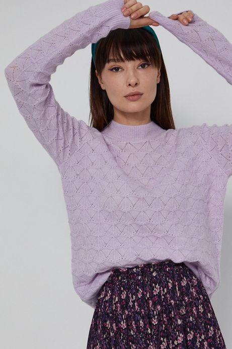 Ażurowy sweter damski z poliestrem z recyklingu różowy
