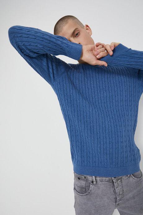 Sweter bawełniany męski niebieski